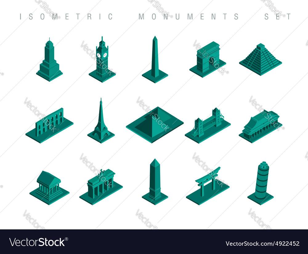 Isometric travel monuments set