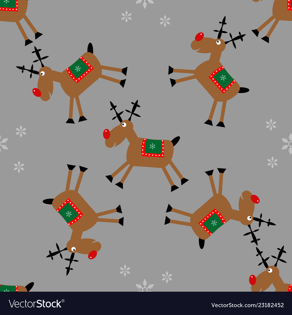 Merry christmas seamless pattern with fanny deer