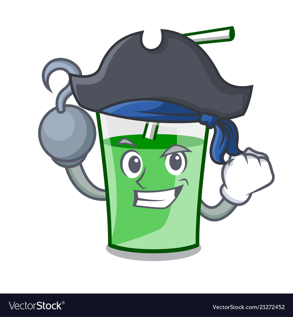 Pirate green smoothie character cartoon