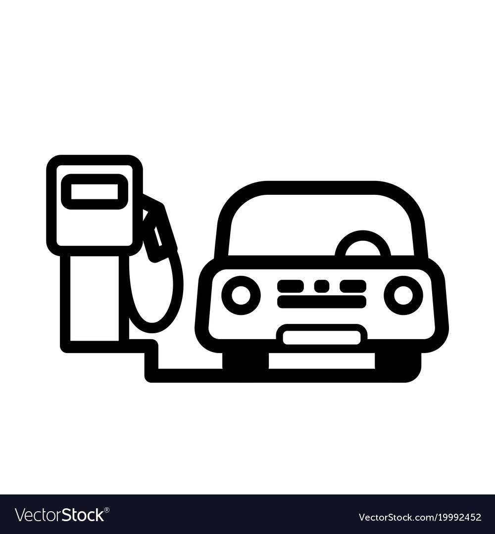 Red passenger car at gas pump vector image