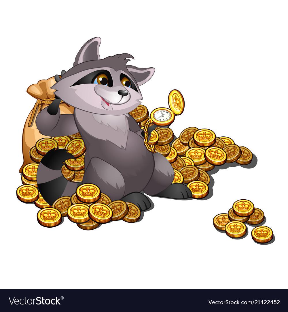 Rich raccoon loan shark lies on a pile of gold