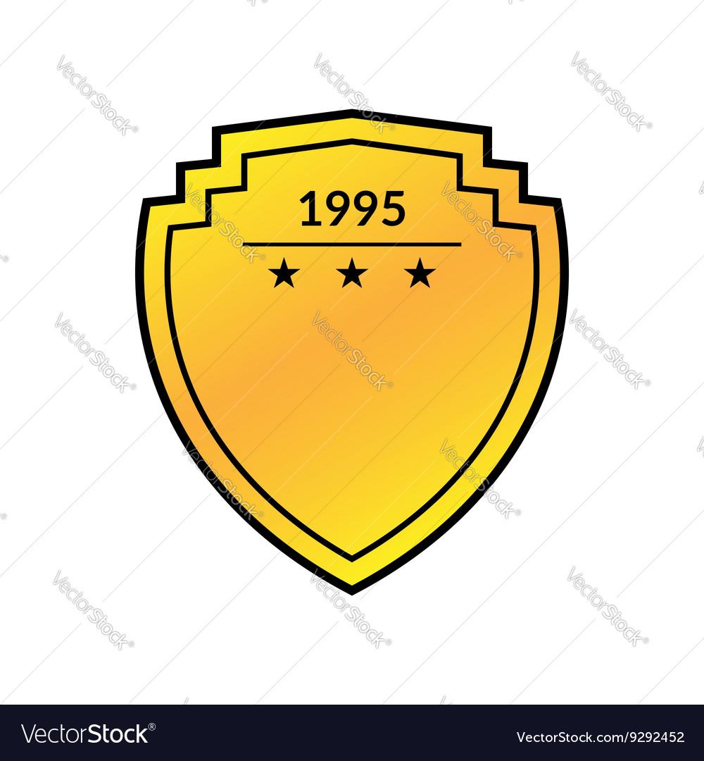 Shield emblem golden flat