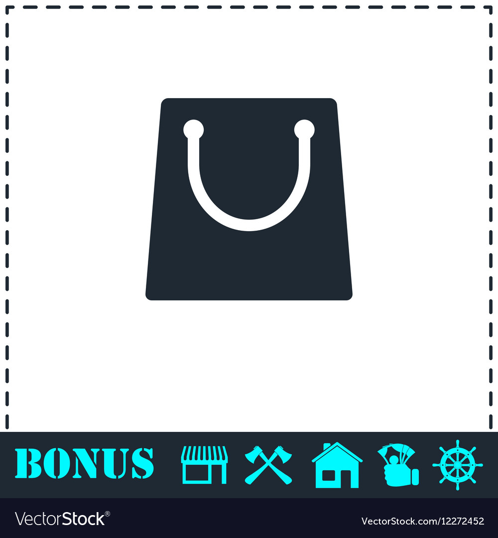 Shopping bag icon flat