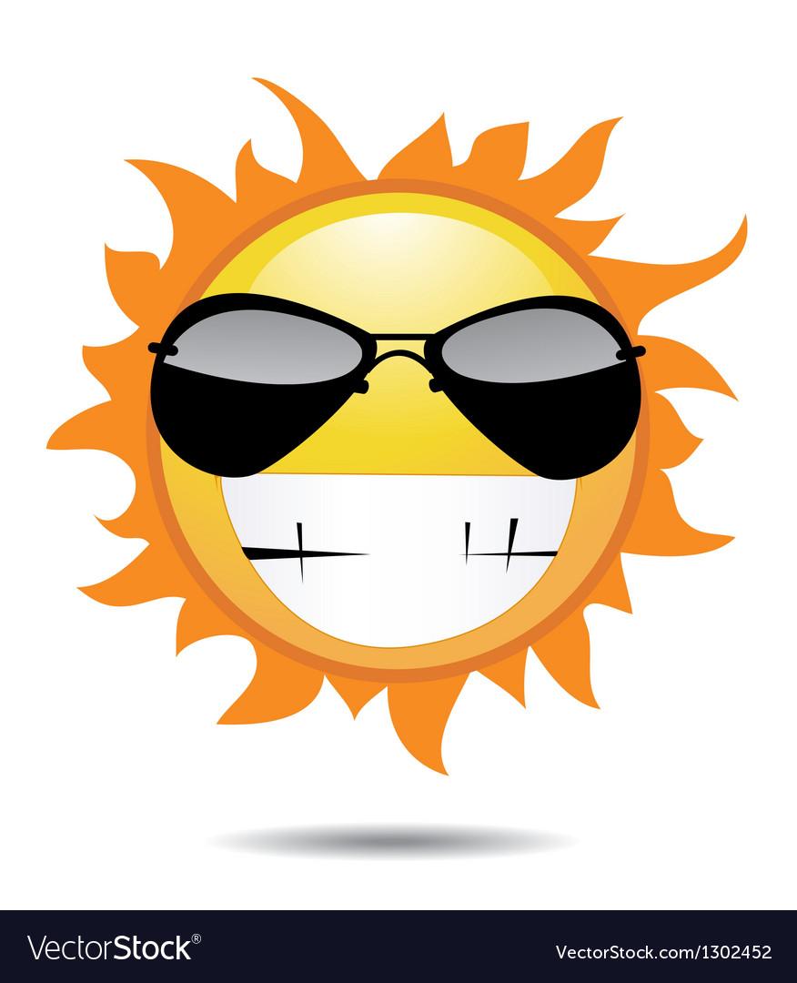 sun with funny face royalty free vector image vectorstock rh vectorstock com Sun Outline Vintage Sun Face Design