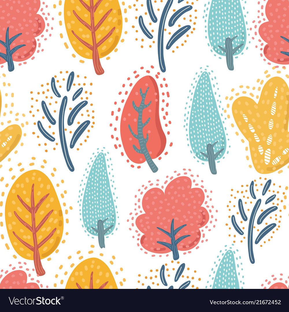 Trees on the white background seamless pattern