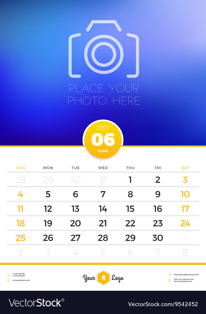 Wall Calendar Template For 2017 Year June Design Vector Image