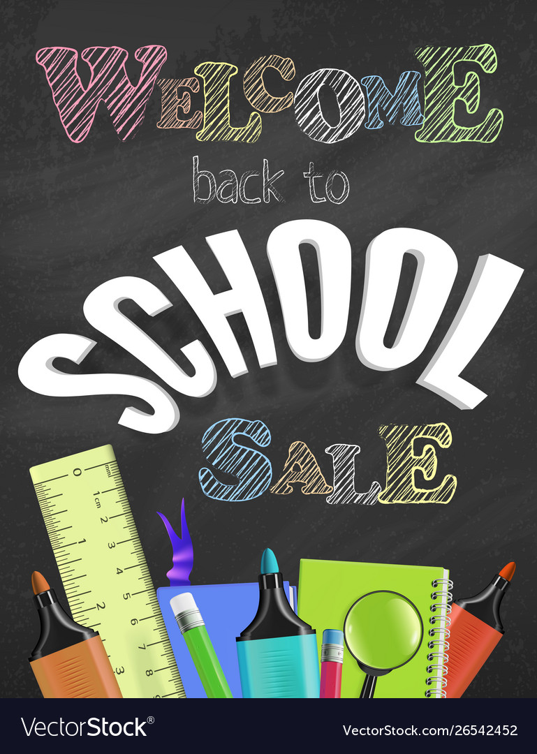 Welcome back to school sale colorful concept