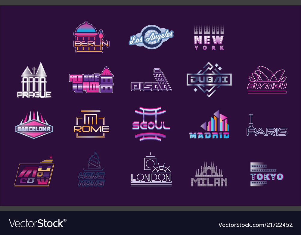 World cities labels set logo graphic templates