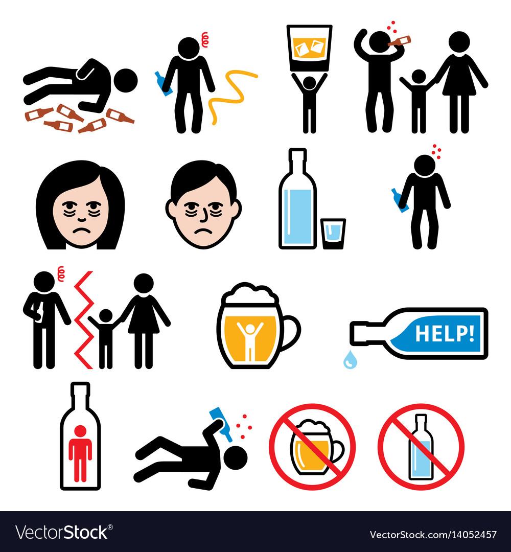 Alcoholism drunk man alcohol addiction icons