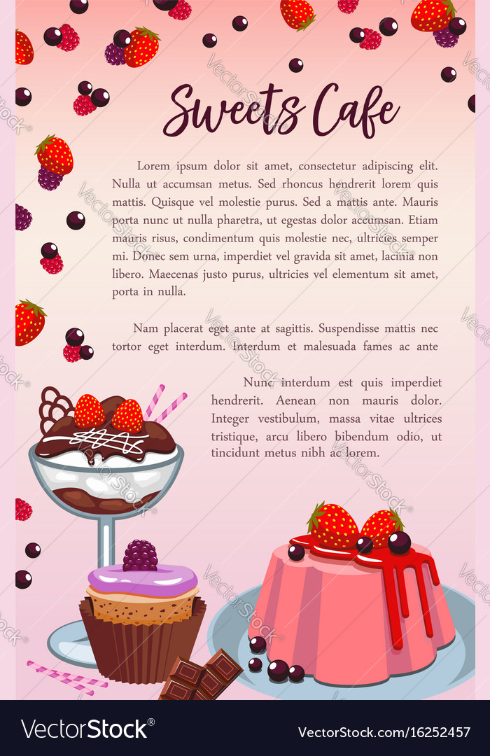 Bakery sweet desserts and cakes poster