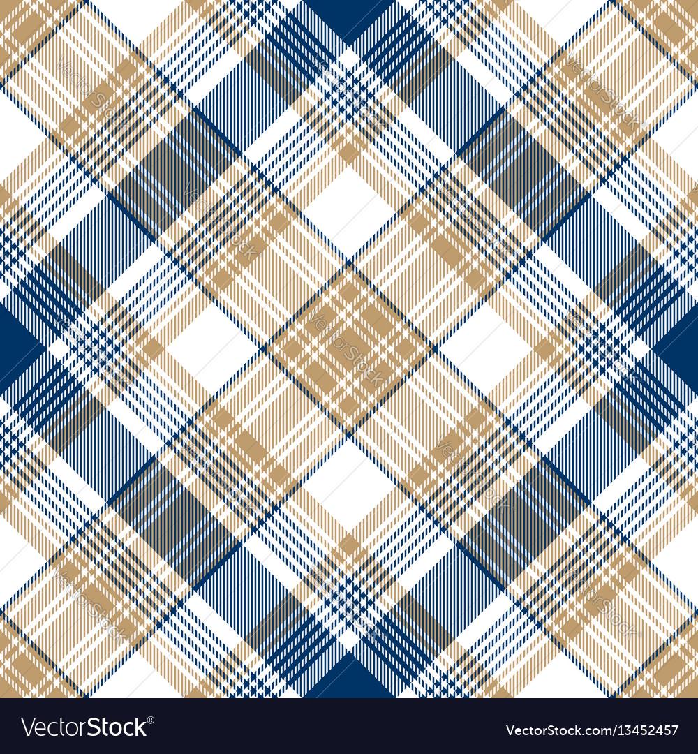 Blue gold tartan diagonal seamless pattern