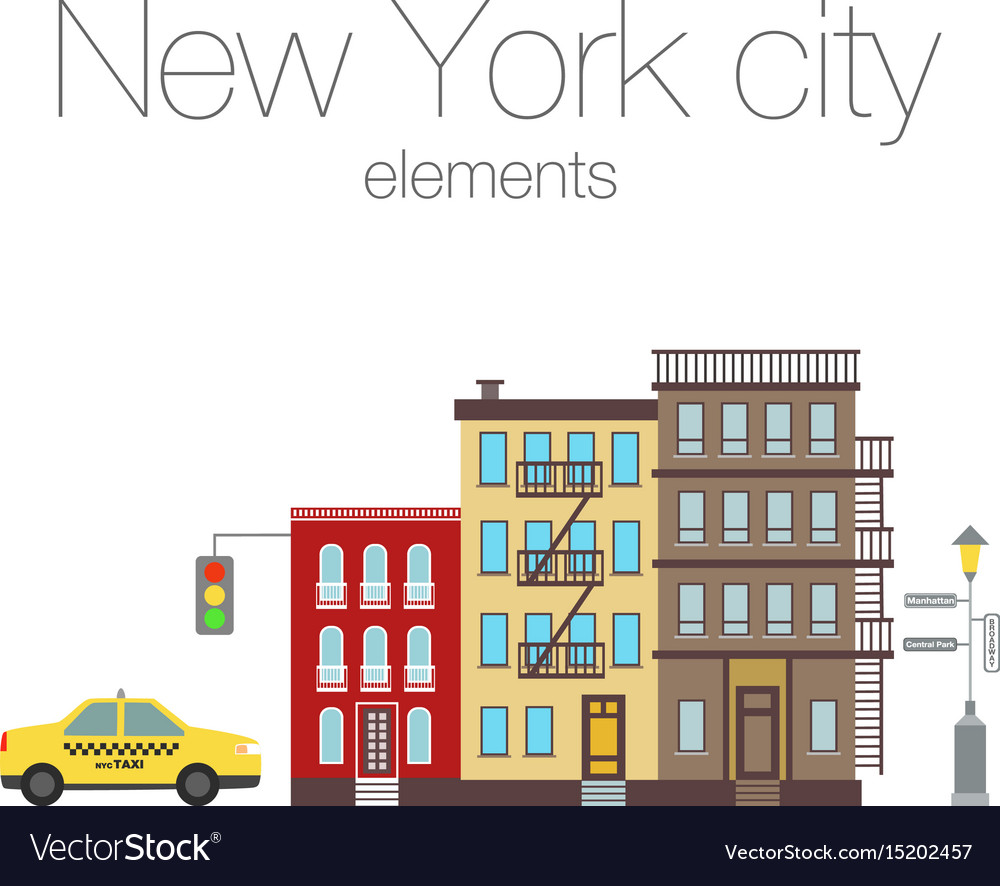 City elements of new york vector image