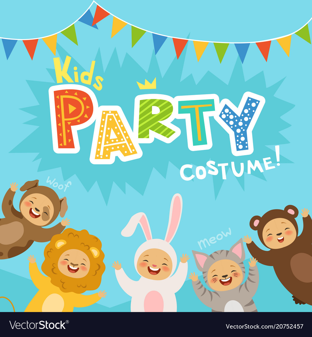 Kids party invitation with happy