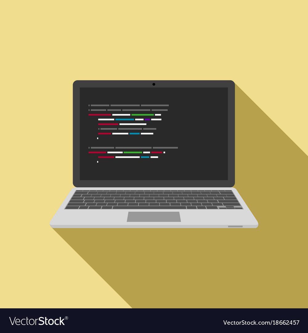 Laptop icon with code editor on screen