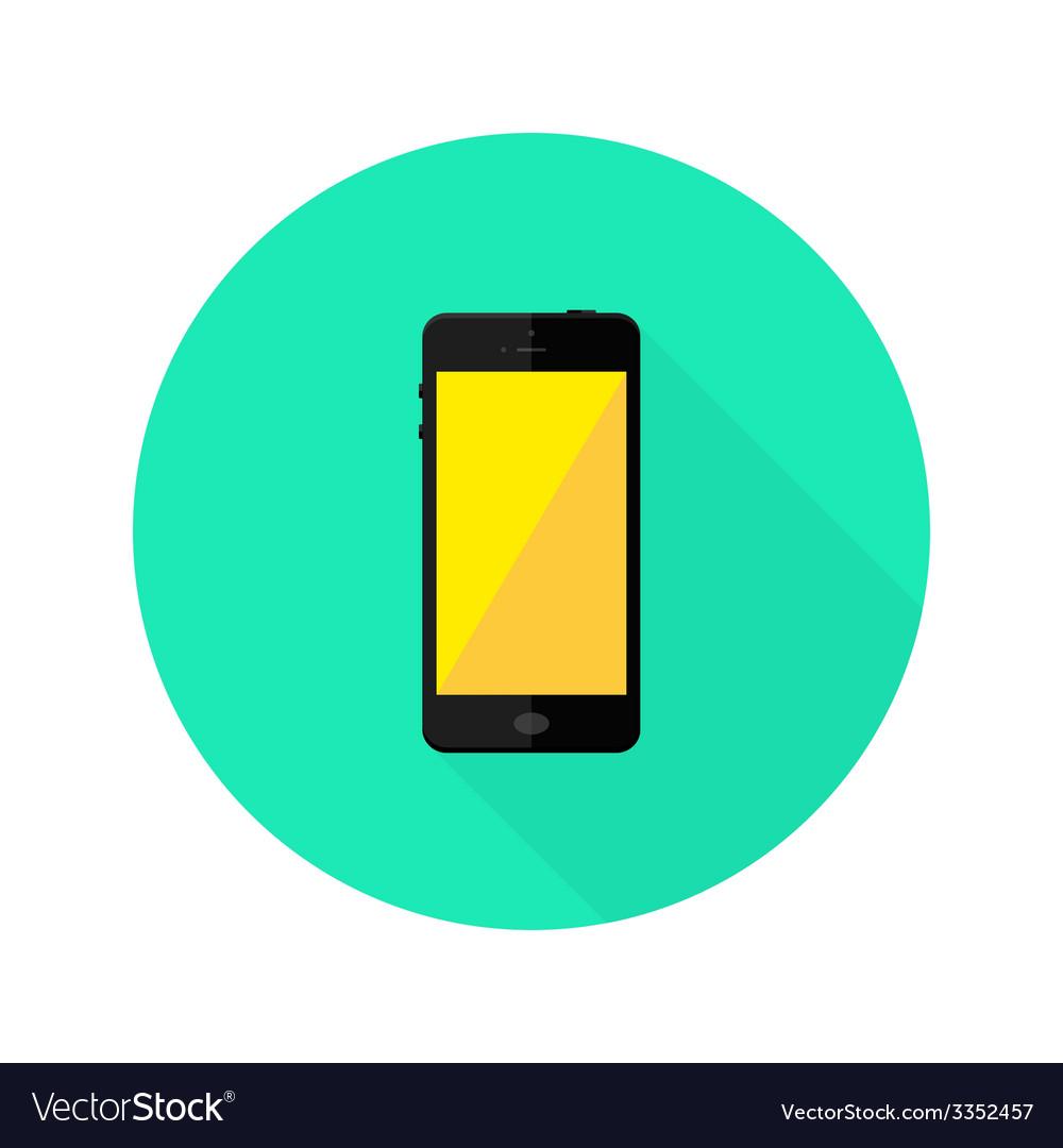 Modern black smartphone flat circle icon
