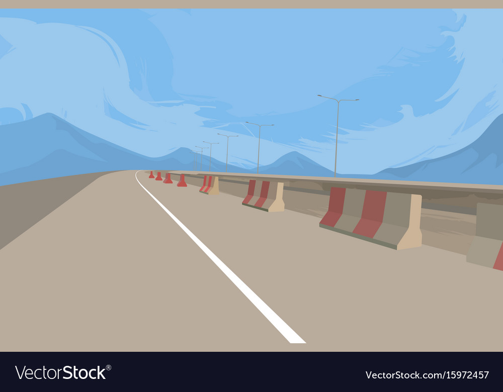 Road and construction scene vector image