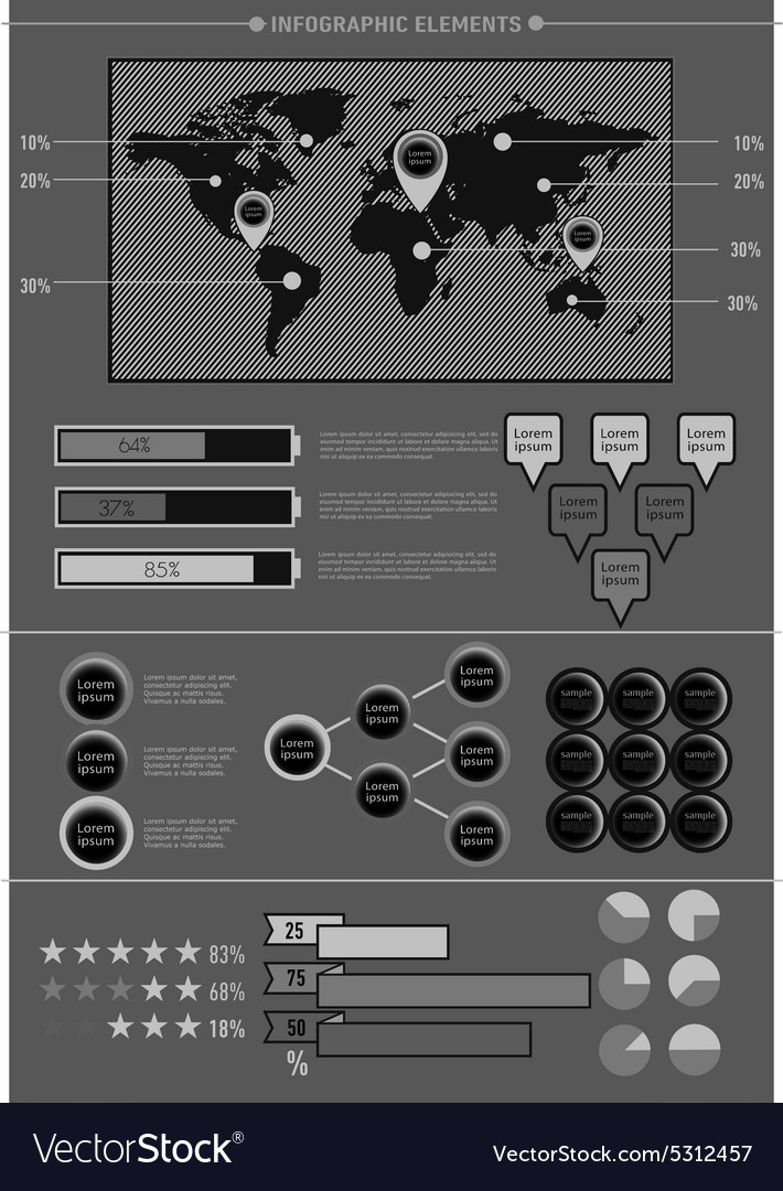 Set elements of infographics World Map vector image