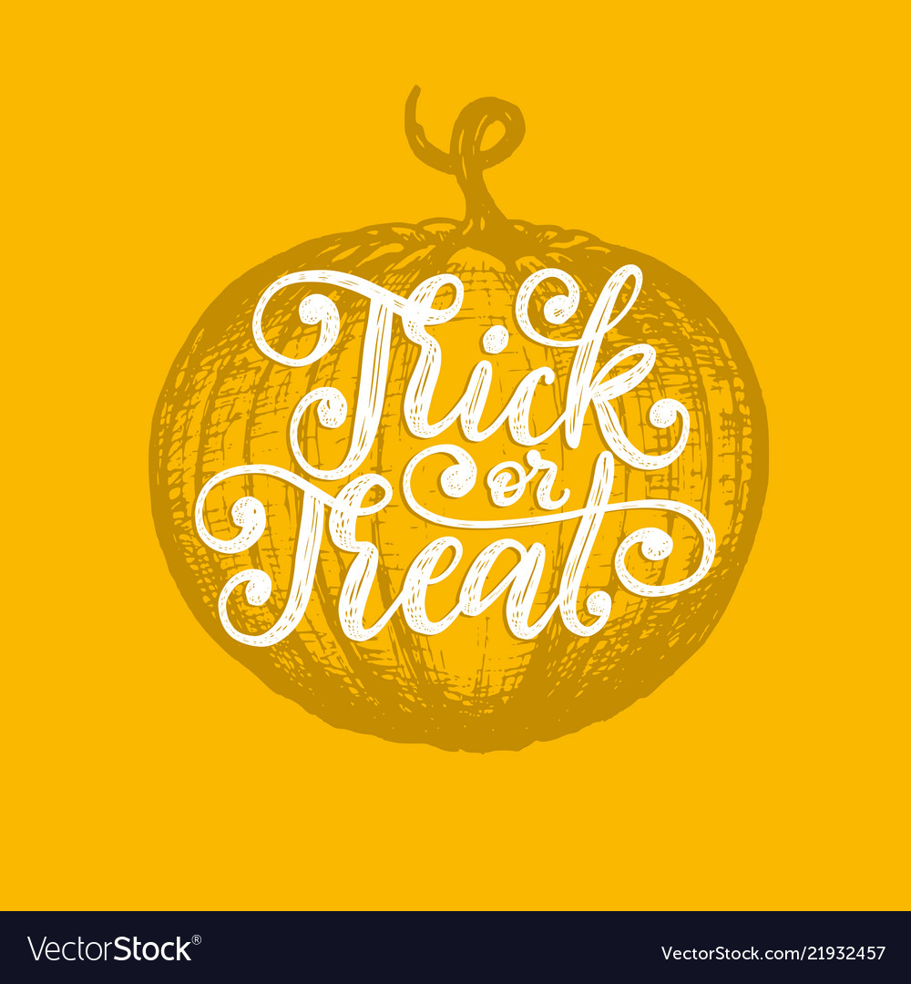 Trick or treat hand lettering for halloween