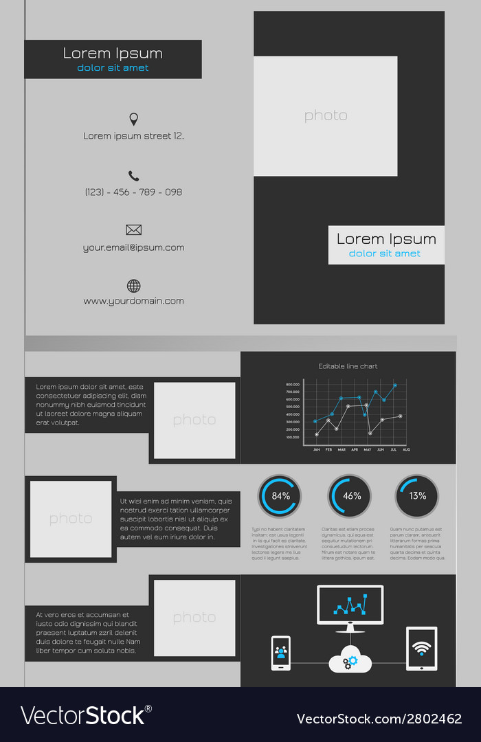 Business Bifold Brochure Template Dark Grey Vector Image