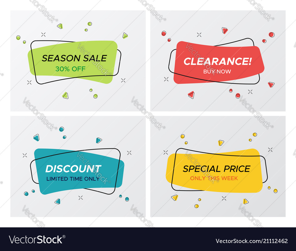 Confetti blast rectangle promo sale tag collection