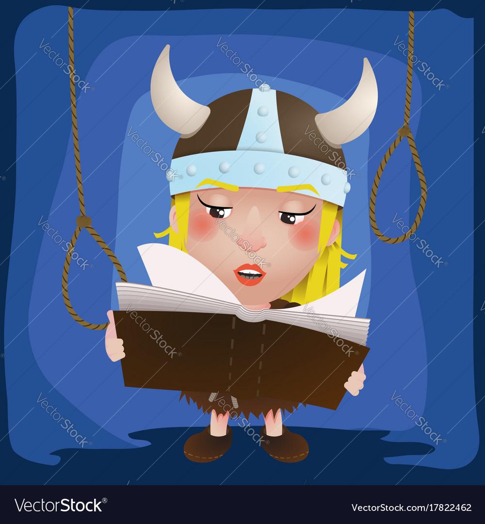 Cute cartoon girl viking medieval warrior with vector image