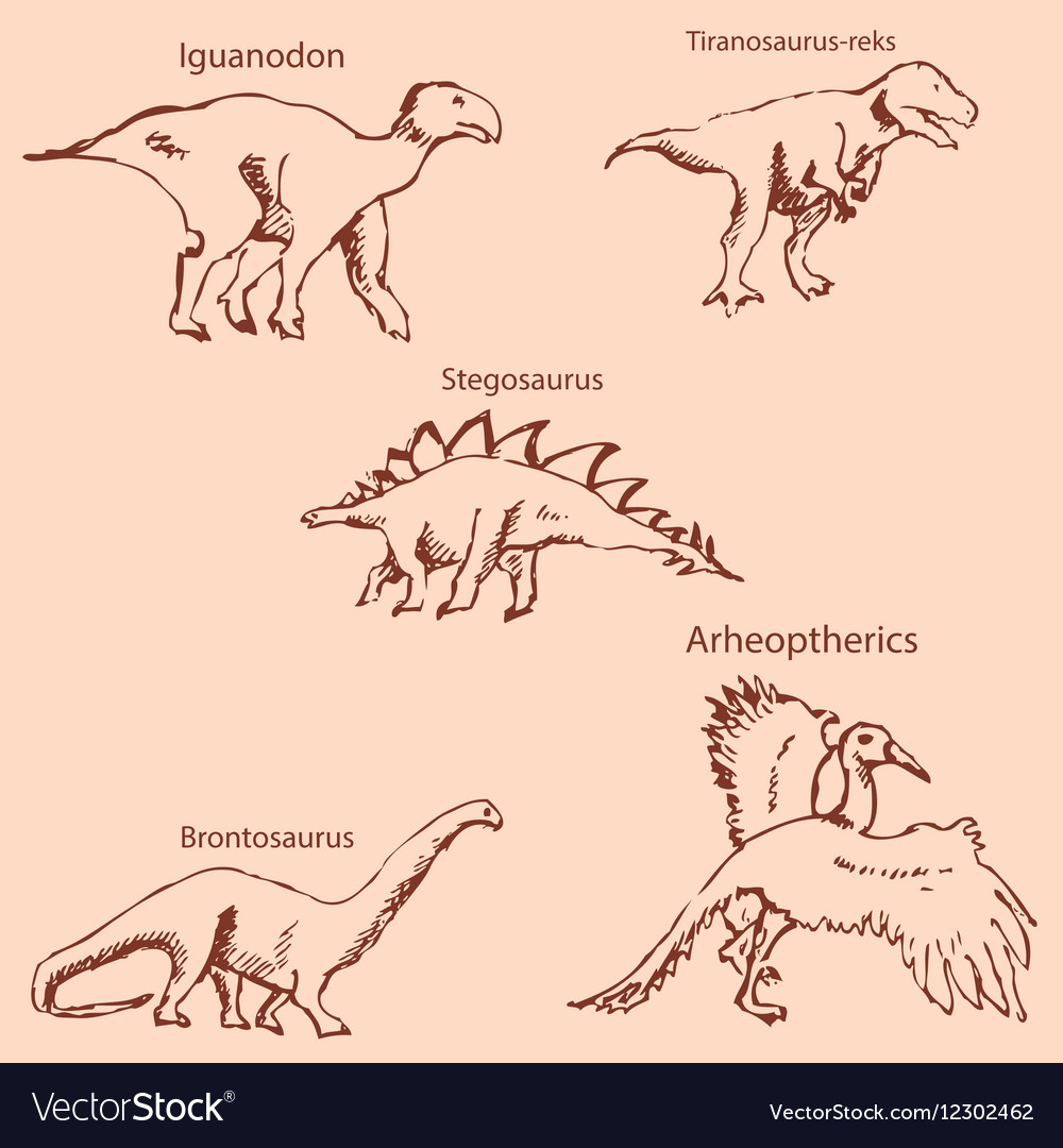 Dinosaurs with names pencil sketch by hand