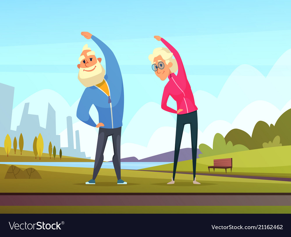 Elderly couples make some sport exercises in the