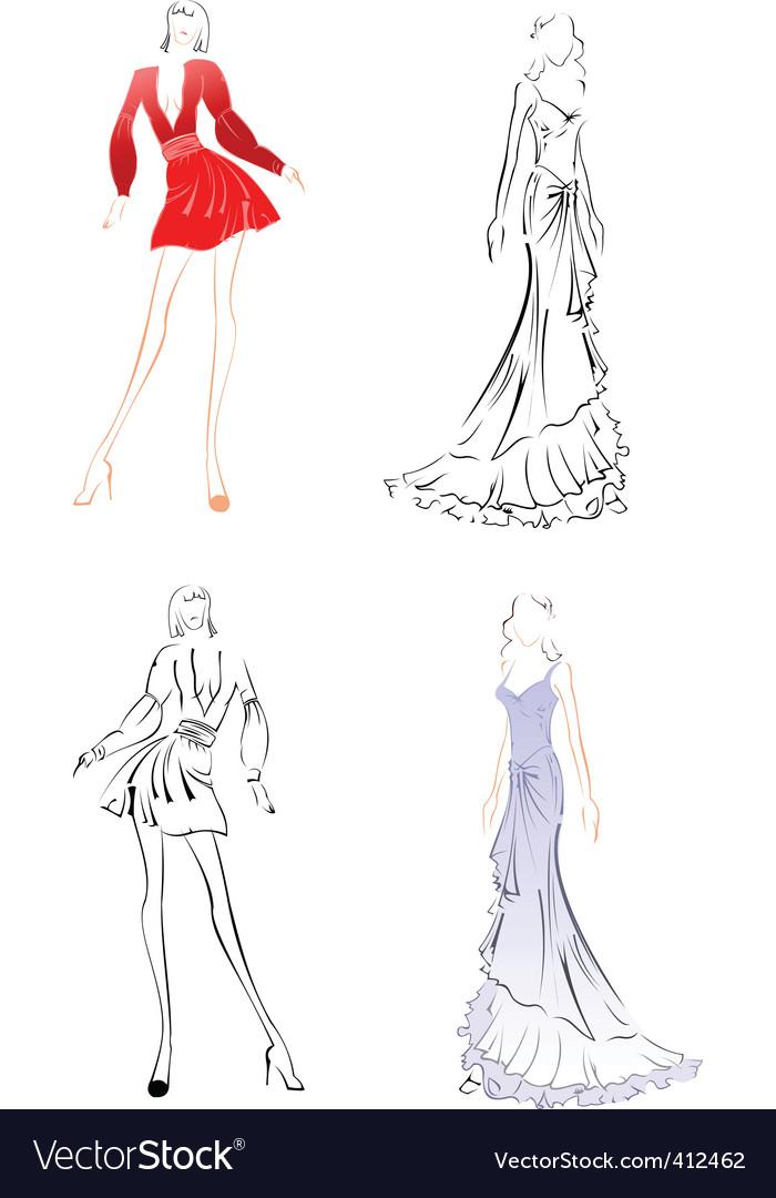 Fashion sketches vector image