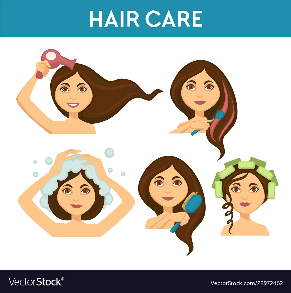 Hair Care Woman Washing It And Using Dryer Vector Image