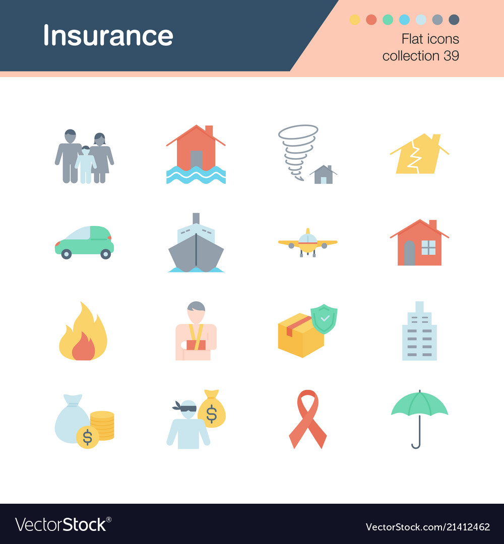 Insurance icons flat design collection 39 for