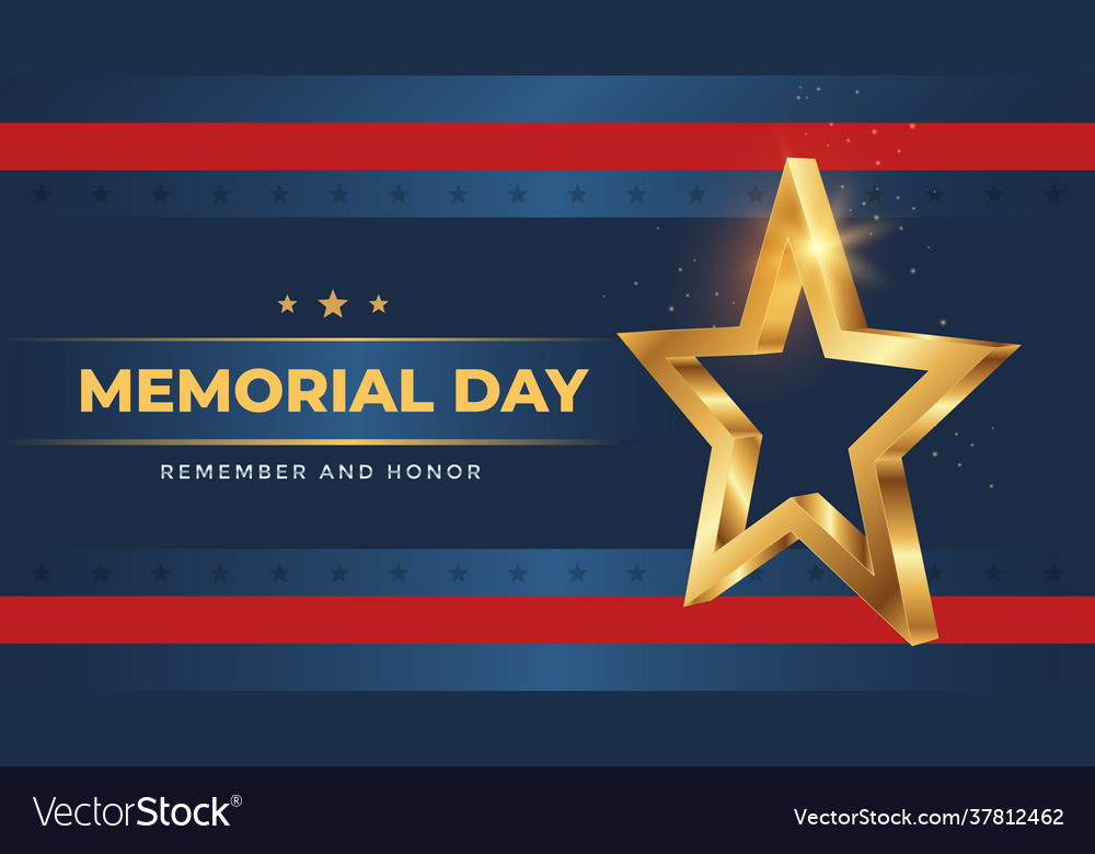 Memorial day greeting card with 3d gold star