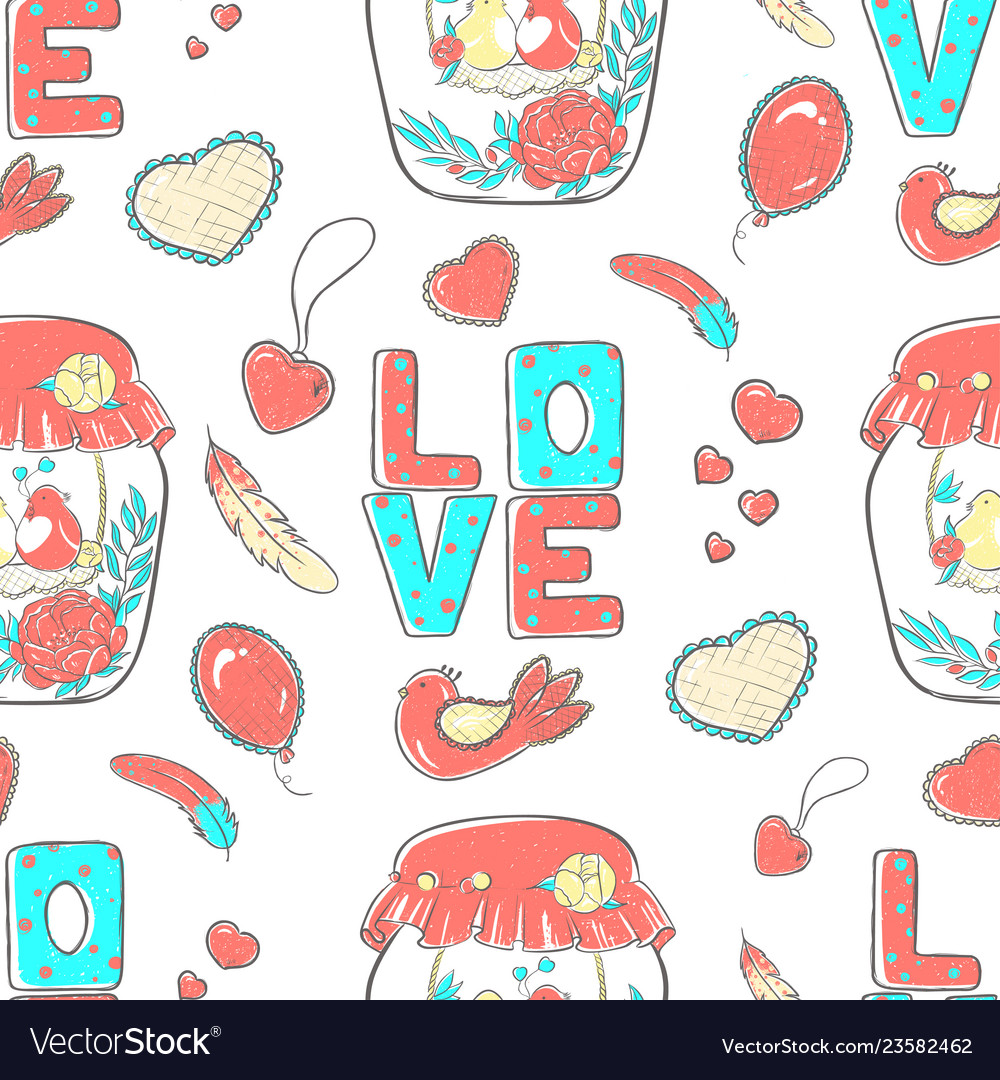 Pattern lettering love stylized large letters on