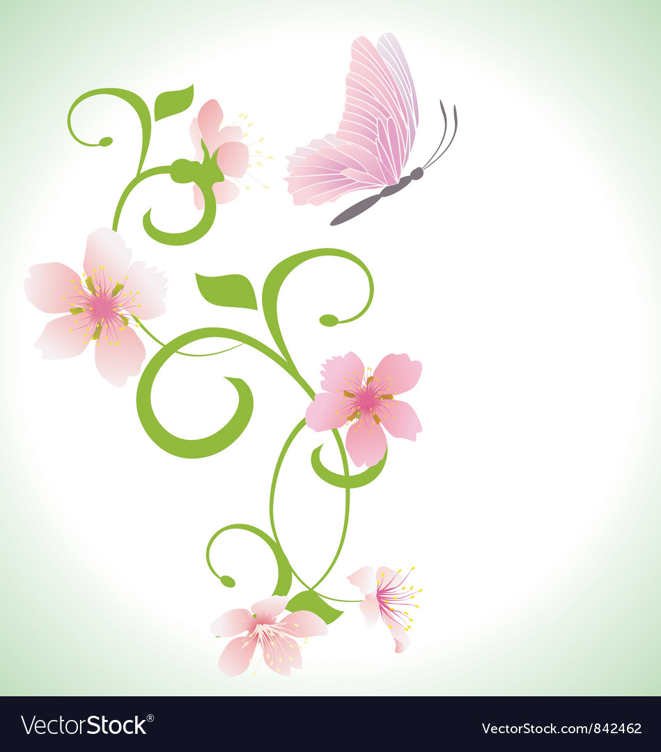 Pink Butterfly With Pink Spring Flowers Royalty Free Vector