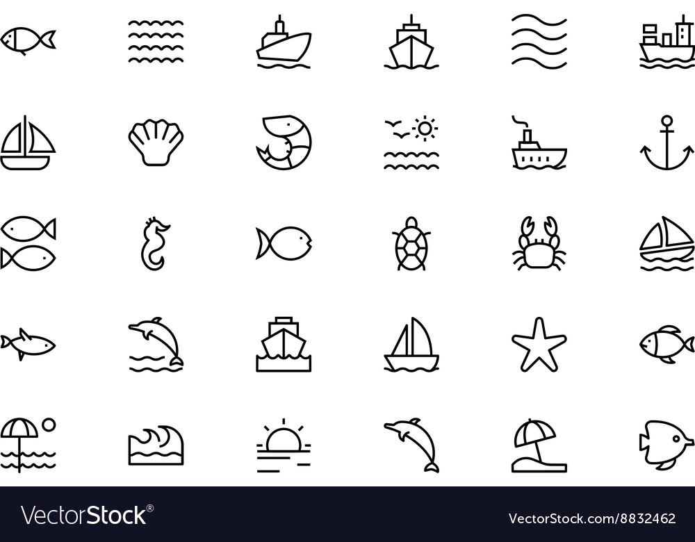 Sea Line Icons 1 vector image
