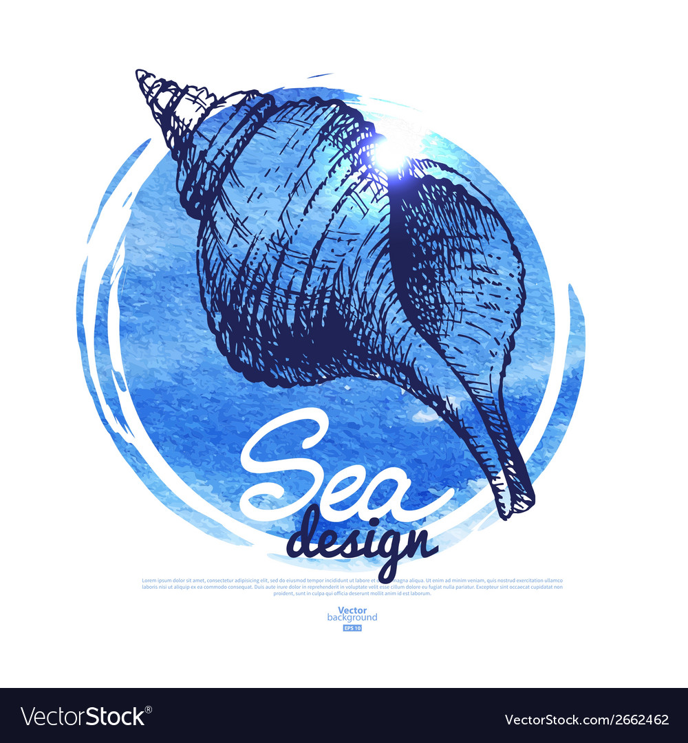 Seashell banner Sea nautical design