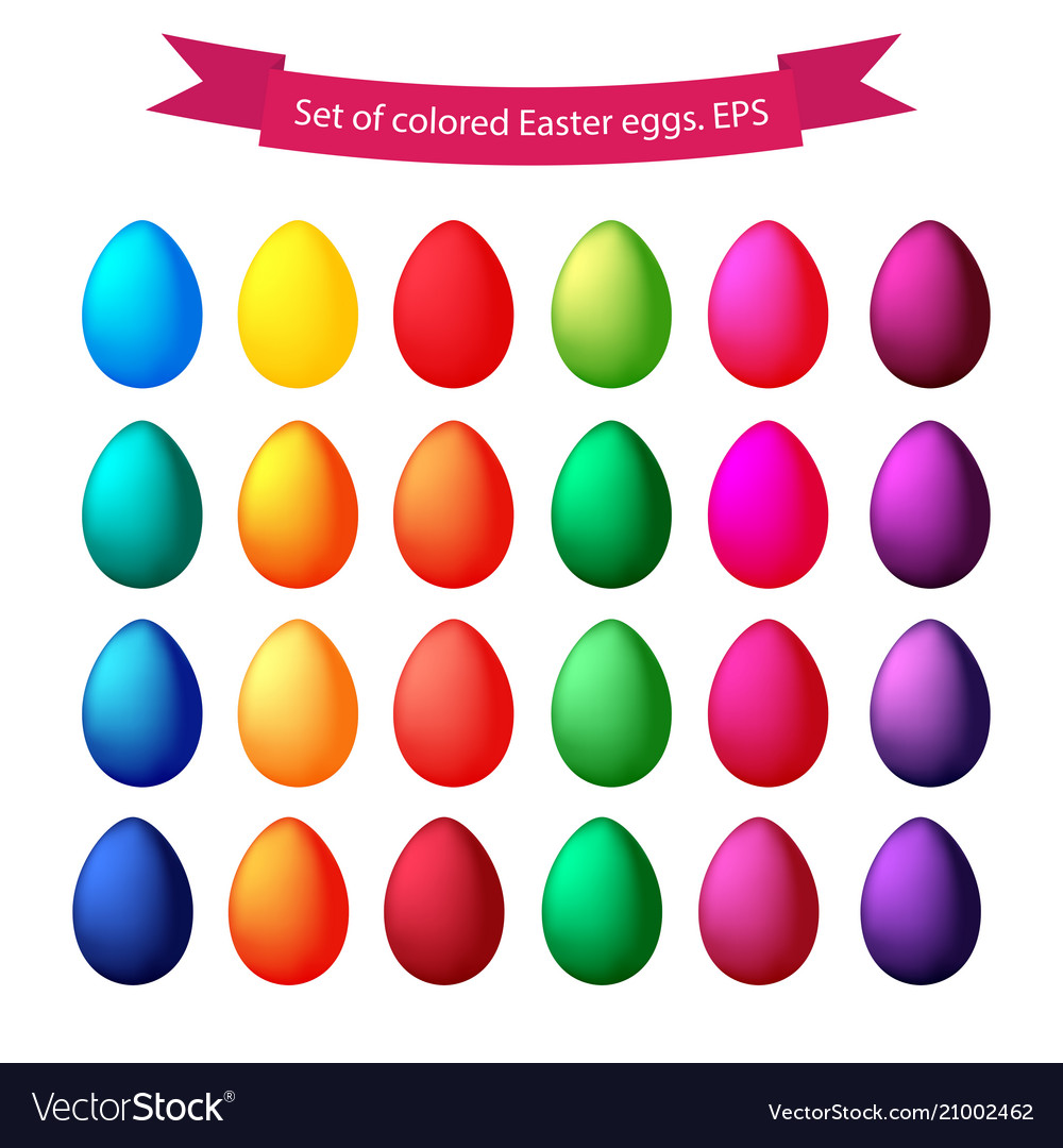 Set of isolated colored easter eggs on a white