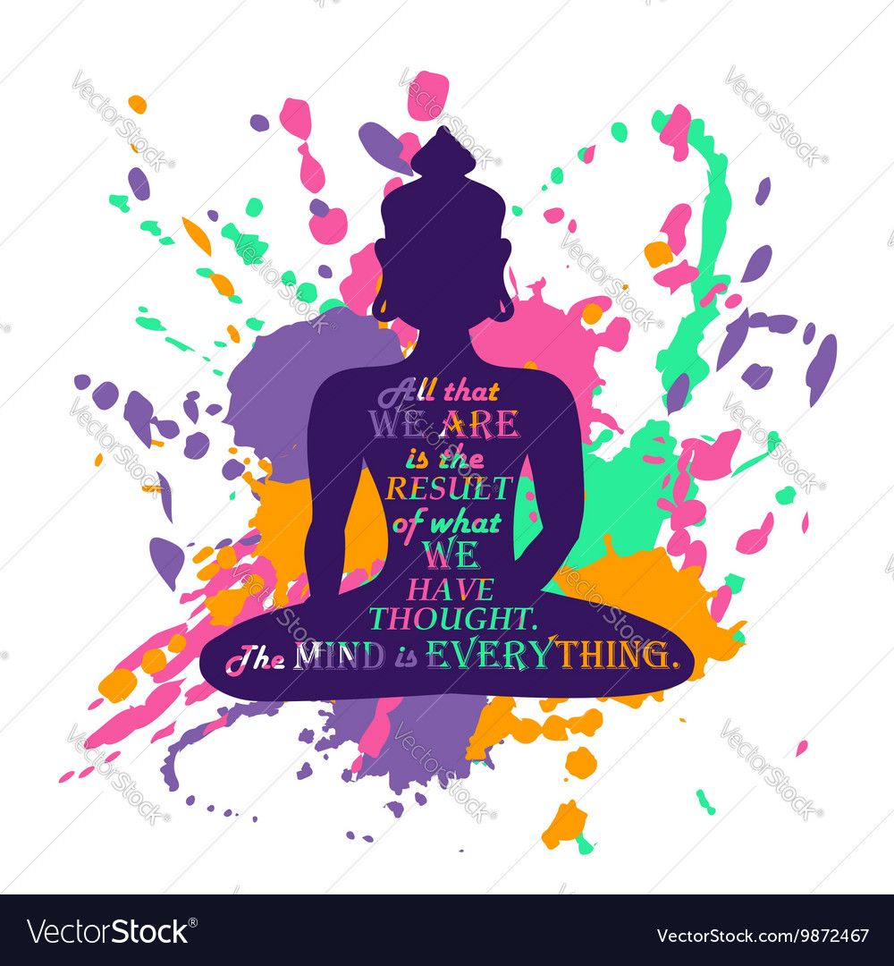 Buddha Silhouette Over Colorful Splash Background vector image