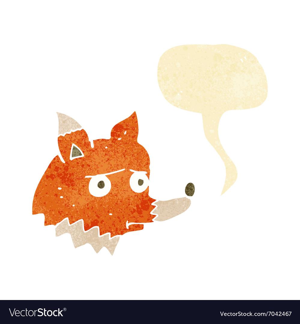 Cartoon unhappy fox with speech bubble vector image