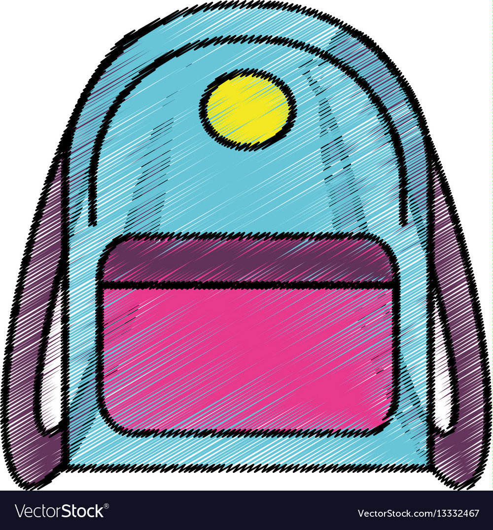 Drawing backpack school icon