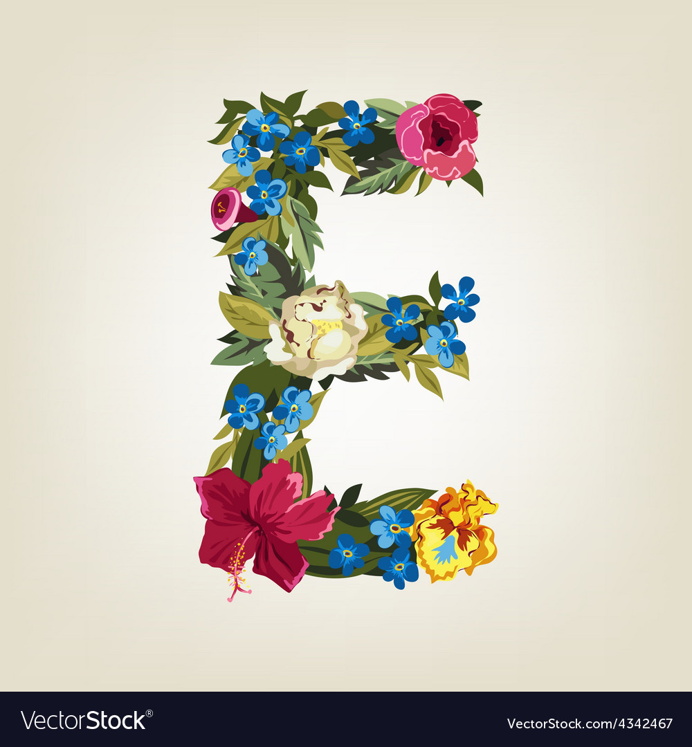 E letter flower capital alphabet colorful font vector image thecheapjerseys Choice Image
