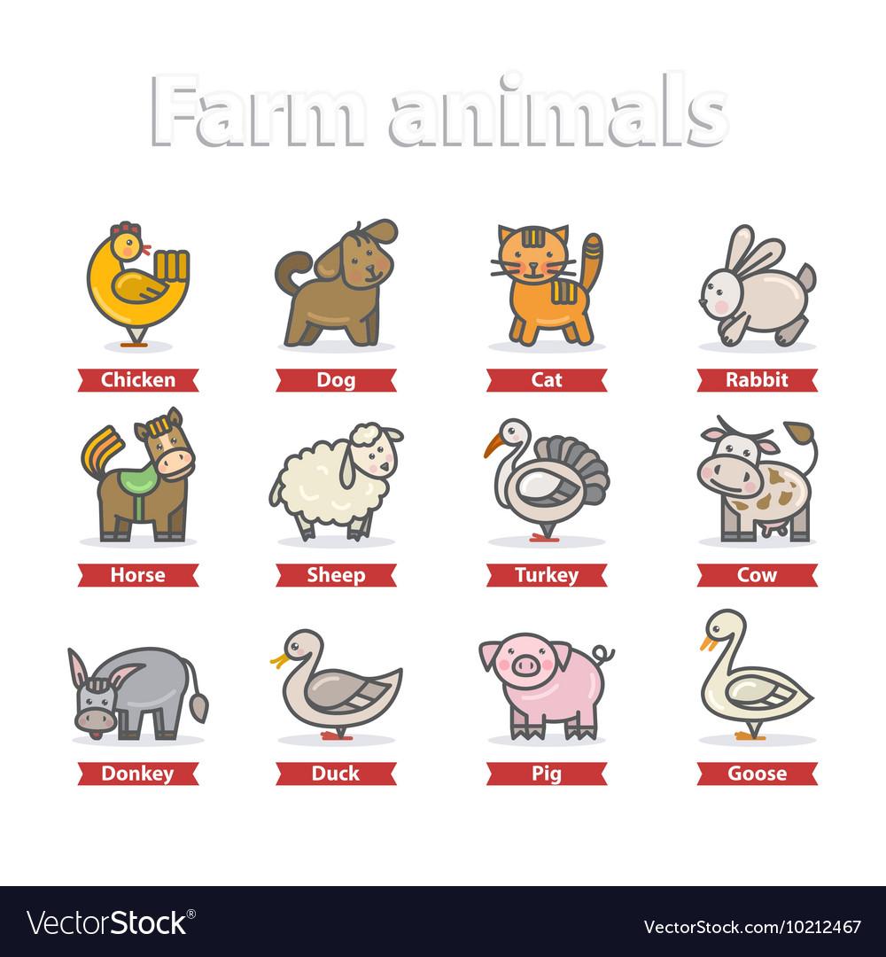 Farm animal icon set