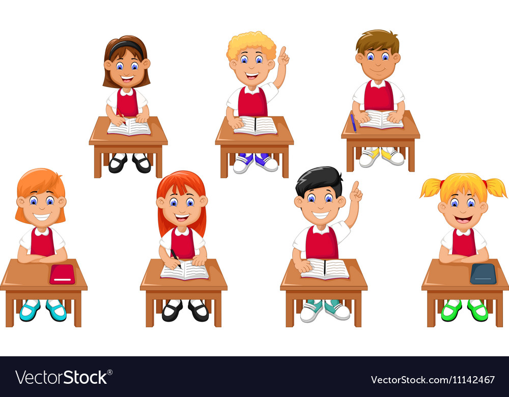 Funny Students Cartoon Learning Royalty Free Vector Image