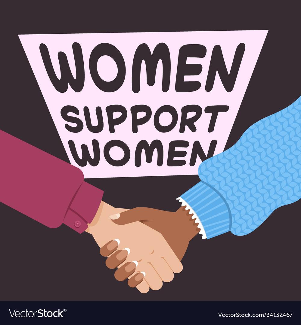 Mix race women holding hands female empowerment