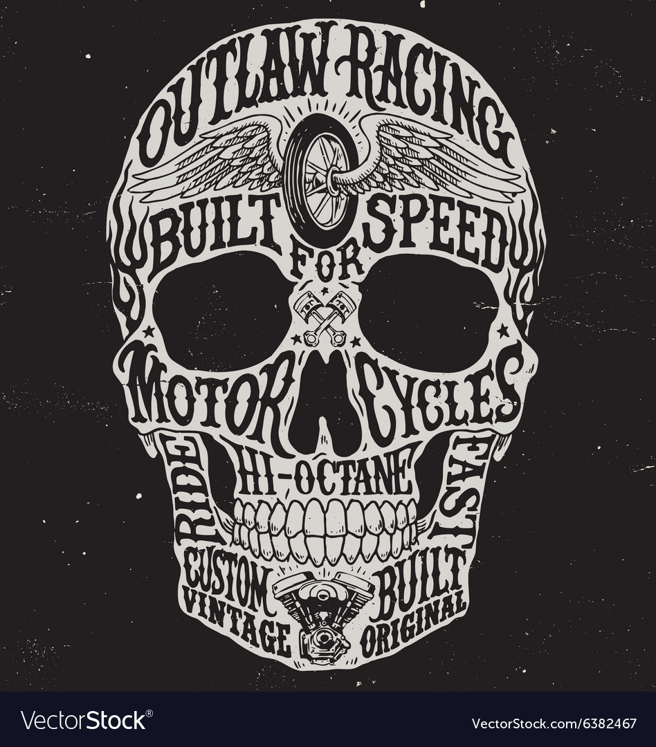 Motorcycle inspired typography skull