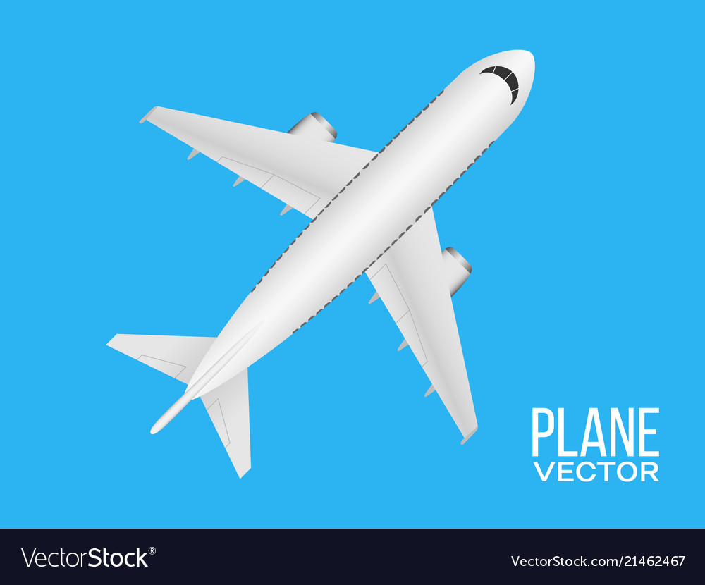 Plane top view on blue background realistic