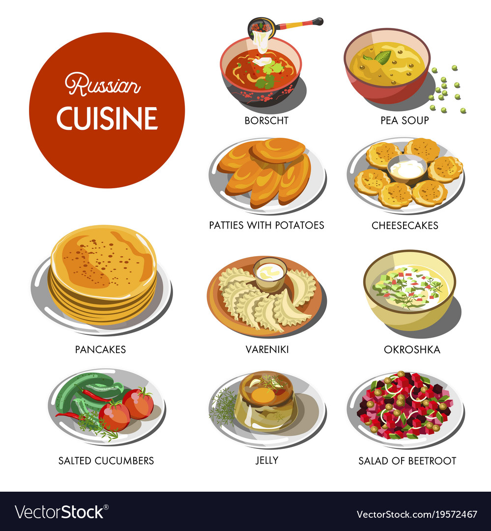 Russian Cuisine Traditional Food Dishes Royalty Free Vector