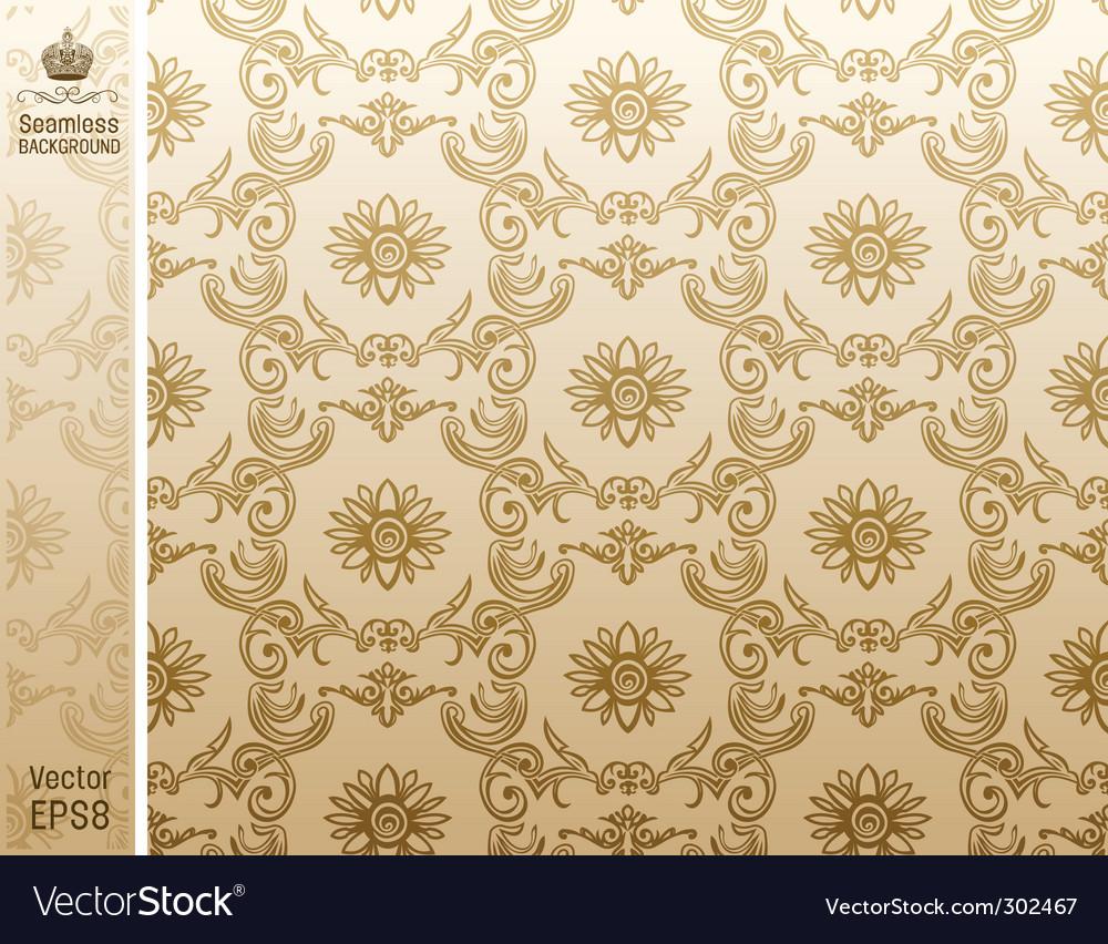 Seamless Flower Wallpaper Pattern Beige Vector Image