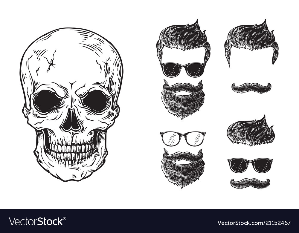 Set bearded men faces hipsters with different