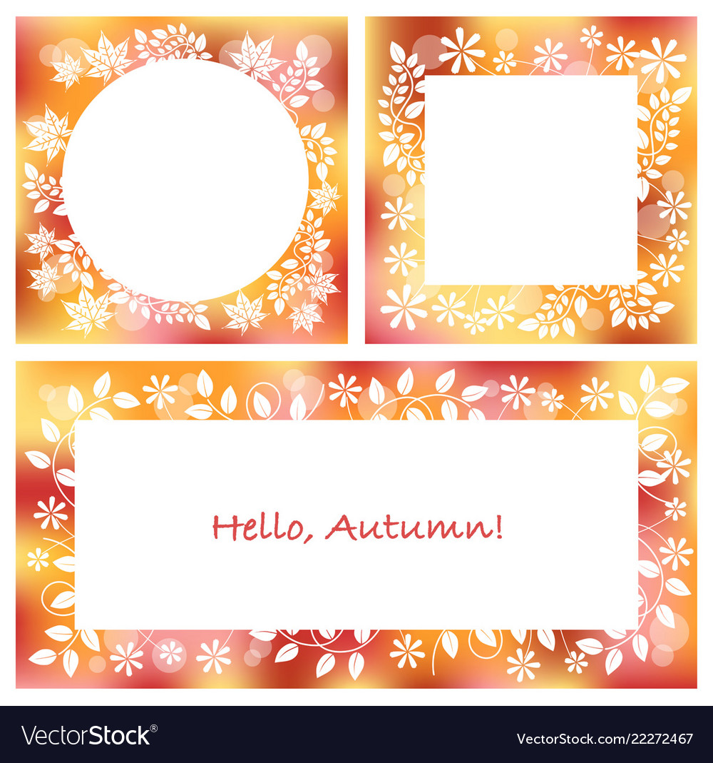 Set of three abstract autumn frames Royalty Free Vector