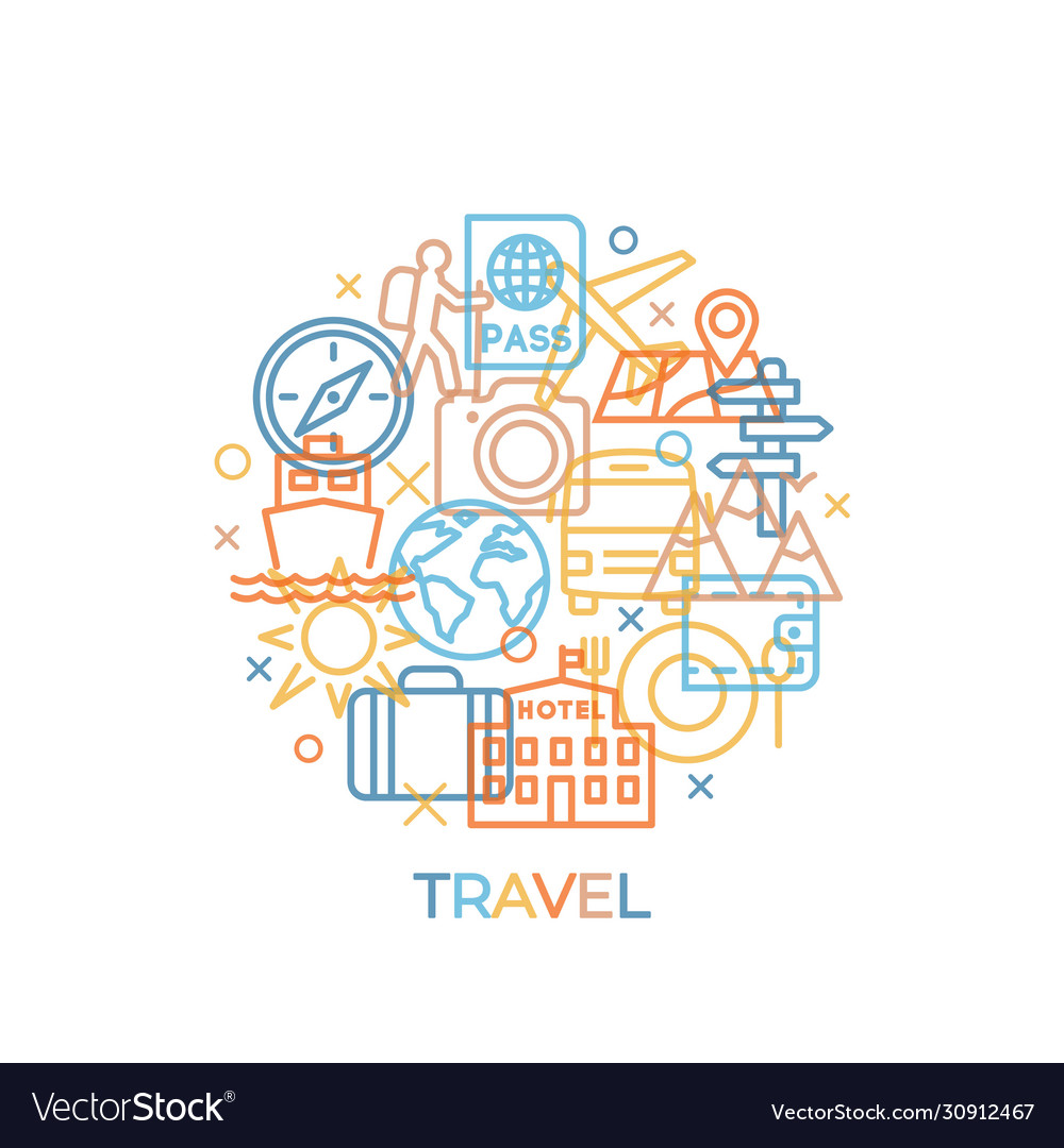 Travel concept with icons and signs in trendy